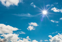 Sun and blue sky. Blue sky with sun and cloud royalty free stock photos