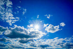 Sun in the blue sky Royalty Free Stock Photos