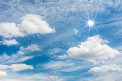 Sun and blue sky. Blue sky with sun and clouds relax feeling royalty free stock photography