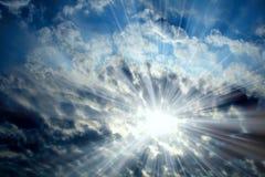 Sun on blue sky Royalty Free Stock Photos