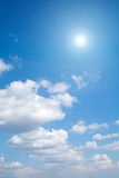 Sun On Blue Sky With Lenses Flare Royalty Free Stock Images