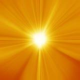 Sun on blue sky with lenses flare. Yellow orange summer sun light burst stock illustration