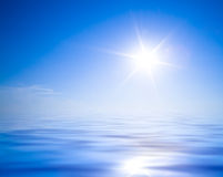 Sun, blue sky and ocean Royalty Free Stock Photography