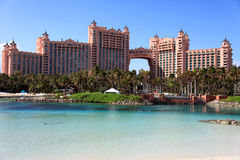 Sun, blue sky and puffy clouds at Atlantis hotel, Paradise Island, Bahamas Royalty Free Stock Photos