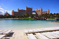 Sun, blue sky and puffy clouds at Atlantis hotel, Paradise Island, Bahamas Stock Images