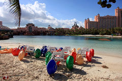 Sun, blue sky and puffy clouds at Atlantis hotel, Paradise Island, Bahamas Stock Photo