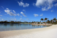 Sun, blue sky and puffy clouds on Paradise Island, Bahamas Stock Photos
