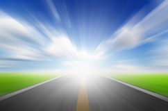 Sun,blue sky and road with motion blu Royalty Free Stock Photography