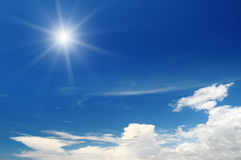 Sun on blue sky Royalty Free Stock Image