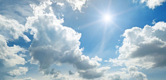 Sun on blue sky Royalty Free Stock Photo