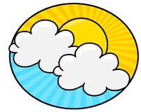 Sun in blue sky with white clouds illustration Royalty Free Stock Photos