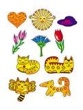Sun, Blumen, Katzen, Herzen und ein Hund Karikaturzeichnungen Künstlerischer lustiger Hintergrund Lizenzfreie Stockfotos