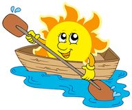 Sun in boat Royalty Free Stock Images