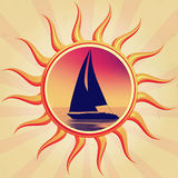 Sun with boat. Retro illustration of sun with boat silhouette Royalty Free Stock Photos