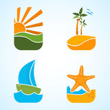 Sun, boat, palm, starfish, travel Stock Photo