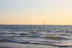 Sun boat sailer Horizon royalty free stock photography