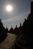 Sun on the Borobudur tample. Beautifull sun in the indonesian budish tample Royalty Free Stock Photo