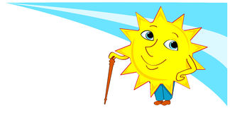 Sun-boy with a cane. Illustration Stock Image