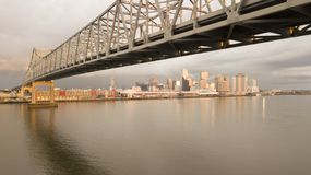 New Orleans Aerial View Under the Highway Bridge Deck Over the M royalty free stock photo