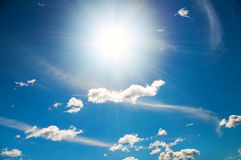 Sun in a bright blue sky. Royalty Free Stock Photos