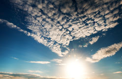 Sun in a bright blue sky. Royalty Free Stock Images