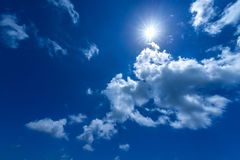 Sun In The Bright Blue Sky Stock Image