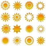 Sun bright yellow shining elements stock illustration