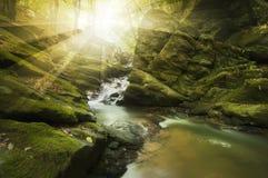 Sun brillant au-dessus de la rivière avec les roches et la rapide Image libre de droits