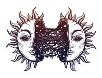 Sun broken in two half open and full of slime goo. Decadence eclipse. Creepy sci-fi, tattoo art. Isolated vector illustration. Trendy T-shirt print. Sad Stock Photography