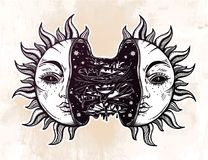 Sun broken in two half open and full of slime goo. Decadence eclipse. Creepy sci-fi, tattoo art. Isolated vector illustration. Trendy T-shirt print. Sad Royalty Free Stock Photo