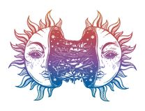 Sun broken in two half open and full of slime goo. Decadence eclipse. Creepy sci-fi, tattoo art. Isolated vector illustration. Trendy T-shirt print. Sad Royalty Free Stock Images