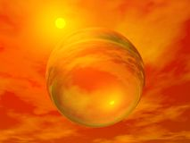 Sun and bubble - 3D render Stock Photo