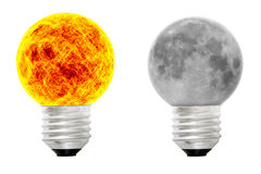 A sun bulb and a lunar bulb Royalty Free Stock Image