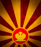 Sun burst background with chess king icon. Chess game relative abstract backdrop Stock Photos