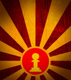 Sun burst background with chess pawn icon. Chess game relative abstract backdrop Royalty Free Stock Photo