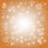 Sun Burst. On Orange Background. Ray Background with Stars Royalty Free Stock Photo