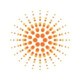 Sun burst round orange particles sign. With dots stock illustration