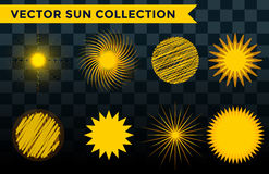 Sun burst star icon set vector illustration summer isolated nature shine sunlight sunbeam spark sunrise sign sunny. Sun burst or star logo icon set. Sunshine stock illustration