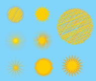 Sun burst star icon set vector illustration summer isolated nature shine sunlight sunbeam spark sunrise sign sunny. Sun burst or star logo icon set. Sunshine Stock Photos