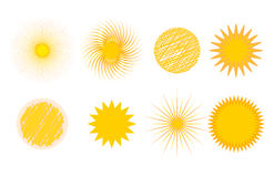 Sun burst star icon set vector illustration summer isolated nature shine sunlight sunbeam spark sunrise sign sunny. Sun burst or star logo icon set. Sunshine Royalty Free Stock Image