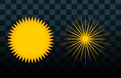 Sun burst star icon set vector illustration summer nature shine sunlight sunbeam spark sunrise sign sunny. Sun burst or star logo icon set. Sunshine star and royalty free illustration
