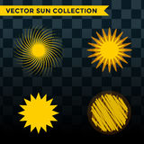 Sun burst star icon set vector illustration summer nature shine sunlight sunbeam spark sunrise sign sunny. Sun burst or star logo icon set. Sunshine star and stock illustration