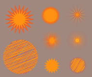 Sun burst star icon set vector illustration summer nature shine sunlight sunbeam spark sunrise sign sunny. Sun burst or star logo icon set. Sunshine star and vector illustration