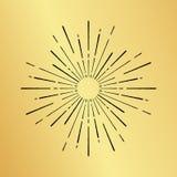 Sun burst vintage hand drawn hipster gold logo ray explode Royalty Free Stock Photos
