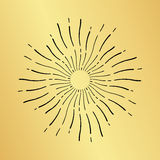 Sun burst vintage hand drawn hipster gold logo ray explode Stock Photography