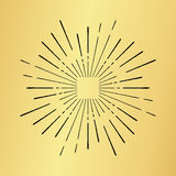 Sun burst vintage hand drawn hipster gold logo ray explode Royalty Free Stock Photos