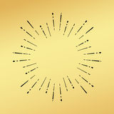 Sun burst vintage hand drawn hipster gold logo ray explode. Vector sun burst vintage hand drawn hipster retro ray logo template. Golden shiny metal texture Royalty Free Stock Images