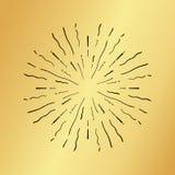 Sun burst vintage hand drawn hipster gold logo ray explode Stock Photos