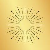 Sun burst vintage hand drawn hipster gold logo ray explode Stock Photo