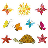 Sun, Butterflies, Turtle and Starfish Royalty Free Stock Photos